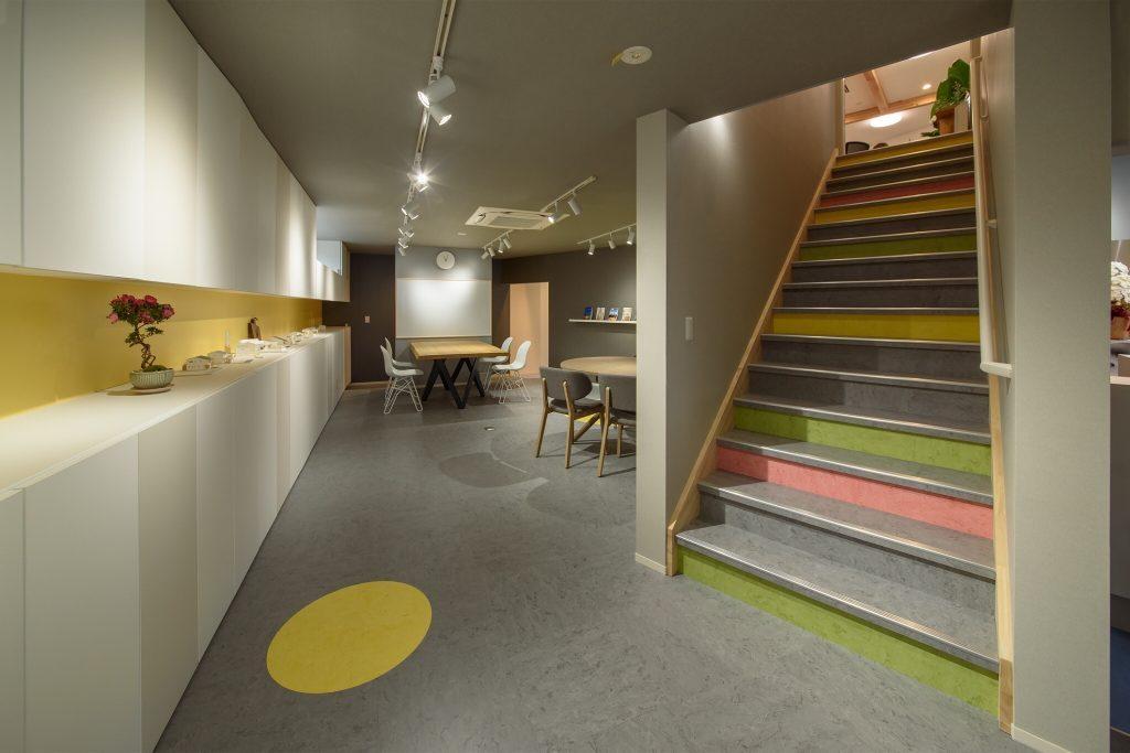 レンタルスペース、マルシェ、セミナーなどに利用できる施設の内装デザイン。