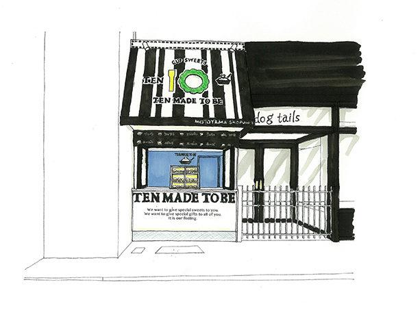 飲食店の外観デザイン。 ドッグヘアサロン&ペットグッズのショップが併設された飲食店のスケッチパース。