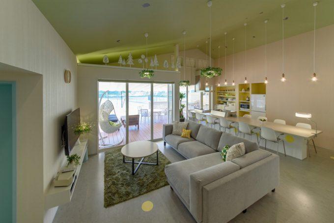 長期滞在型のホテルの内装デザイン。